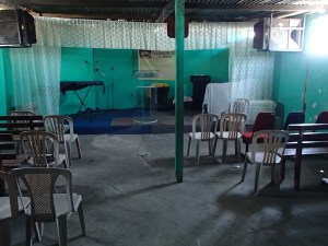 Inside a typical dump area church